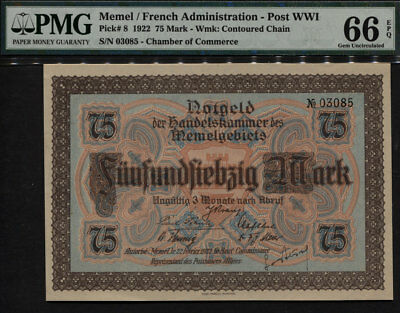 Tt Pk 8 1922 Memel / French Administration - Post Wwi 75 Mark Pmg 66 Epq Gem Unc