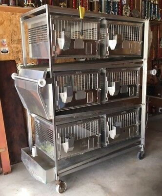 Hoeltge Inc 6 Cage easy clean System SS Mobile Animal  Containment Unit