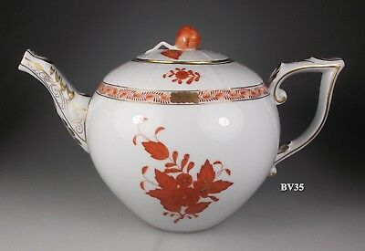 """Herend Chinese Bouquet Rust Teapot With Lid 5 1/4"""" #472 - Mint Condition"""