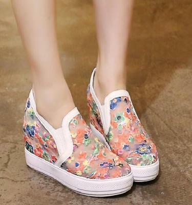 Womens Embroidery Flowers Mesh Casual Sneakers Pull On Flat Shoes Sz35-44 Plus