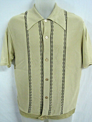 VINTAGE KNIT SHIRT - GAUCHO - 50's - 60's - ROCKABILLY - RAT PACK - SMALL - NOS