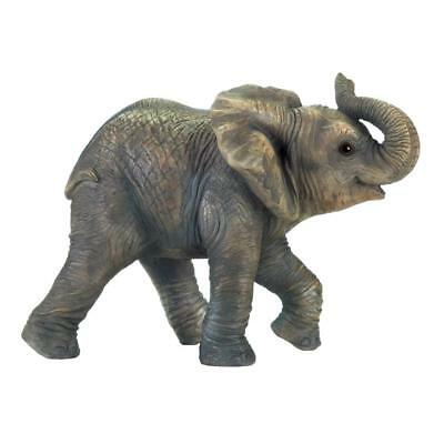 "Happy Gray Baby Elephant Statue Figurine 10"" Trunk Up NEW 10018250"