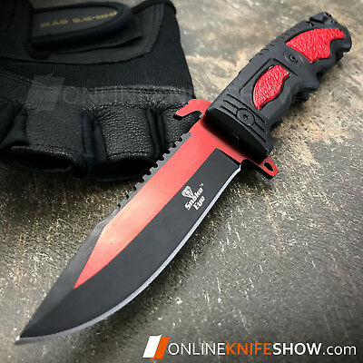 RED TACTICAL Spring Assisted Open Pocket Knife CLEAVER RAZOR FOLDING BLADE