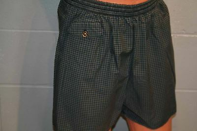 Mens M~L Teal GRID CK Plaid Vtg 50s 60s Swimsuit Surf Pool Cabana Swim Trunks
