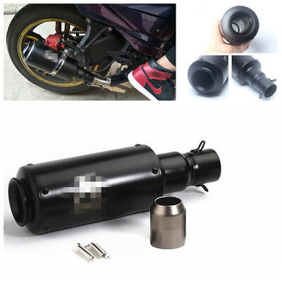 DIY BLACK CANNON Barrel Style 36-51mm Inlet Motorcycle Exhaust Muffler Pipe  Kit