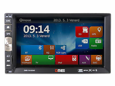 "Autoradio 2 Din 7"" FHD 1080p Touch Mp5 USB SD Navigatore NAVI GPS BT MirrorLink"