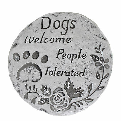 Round Pet Memorial / Garden Stone Plaque - Dogs Welcome