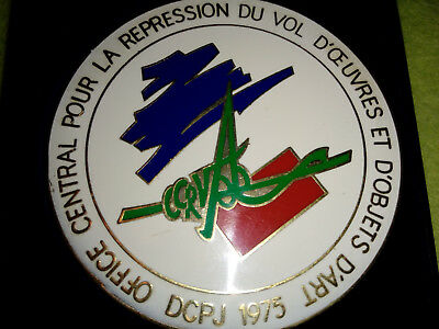 Insigne Medaille Table Plaque Police Judiciaire Vol Oeuvres D'art Badge + Boite