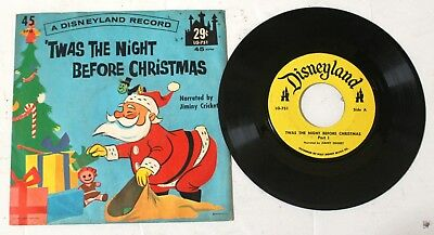 DISNEY Twas the Night Before Christmas Part 1 and 2 45 RPM Vinyl - 1962