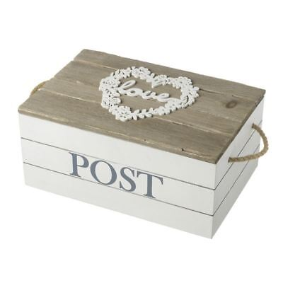 Rectangle Wooden Love Design Post Box with Rope Handles