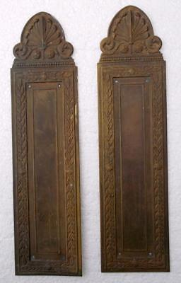 Stylish Pair of Vintage French Brass Door Finger Plates #A