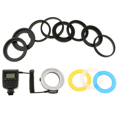 48 LED Macro Ring Flash Light with LCD Display Power Control / Adapter Rings