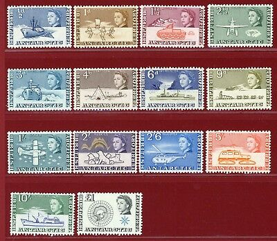 British Antarctic Terr 1963 #1/15(14), 1st Definitive Set, SCV $167.80