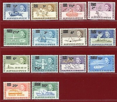 British Antarctic Terr 1971 #25-38, Surcharged Definitive Set, MLH, SCV $133.65