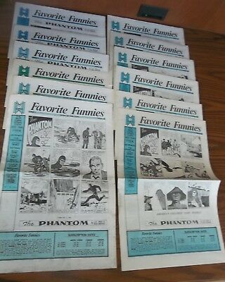 Lot of 12 FAVORITE FUNNIES Complete Set ENTIRE RUN 1-12 Golden Age Comic Strips