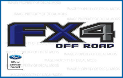 set of 2: 2018 Ford F150 FX4 Off Road Decals Stickers Blue FBLU Bed Side Truck