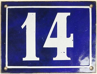 Large old blue French house number 14 door gate plate plaque enamel metal sign