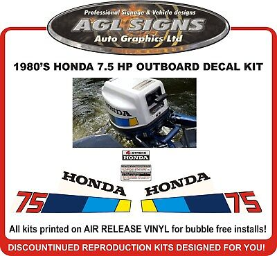 1980's Honda 7.5 hp Outboard Reproduction Decal Kit,  75