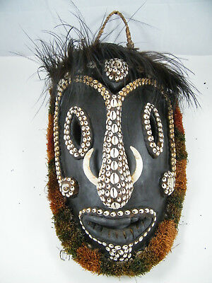 "Tambanum Village ~ Papua New Guinea 19"" Spirit Mask Carved Wood/shells 3170"