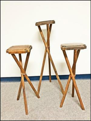 3 Vintage WOOD TRIPOD STAND SET pedestal plant vase table adirondack rustic lot