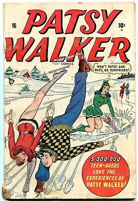 Patsy Walker #16 1948- Spicy Ice Skating cover- Golden Age Teen Humor VG-
