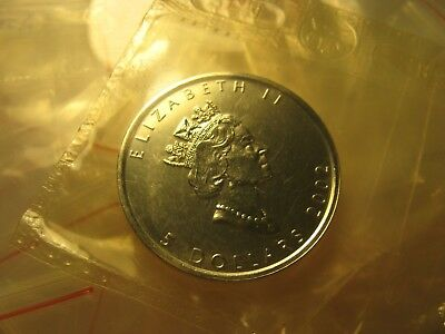 $5 2002 Canada Silver Maple Leaf Bullion RCM Sealed Coin 9999 1 Oz  Silver Rare.