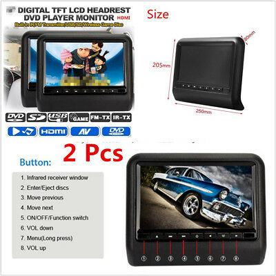 "2 X 9"" LCD 800*480 Digital Screen Car Headrest Monitor DVD Player+Remote Control"