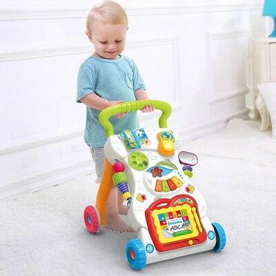 Baby Kids Trolley Walker First Step Activity Bouncer Toy Sit-to-Stand Prewalker