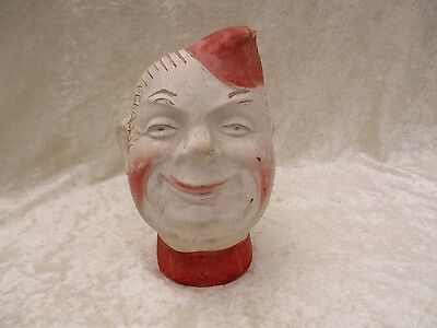 Vintage 1940's Pottery Bisque Buddy Soda Jerk/Soldier Head Chia Vase