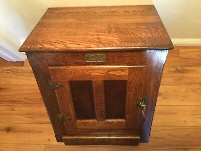 Vintage White Clad Ice Box Cabinet End Side Table Solid Oak Brass Hardware