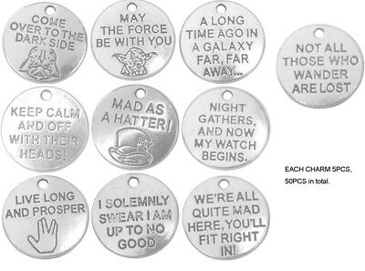 50PCS Antiqued Silver Metal Mix Words Charms Pendants for Jewelry Making