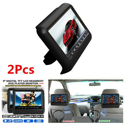 "2X 9"" Car TFT LCD Digital Screen DVD Headrest USB HDMI Monitor Player Universal"