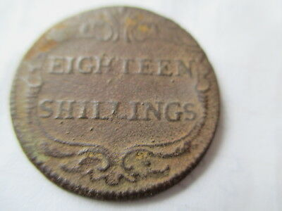 George I Eighteen Shillings Bronze Coin Weight For Two Portugal Escudos