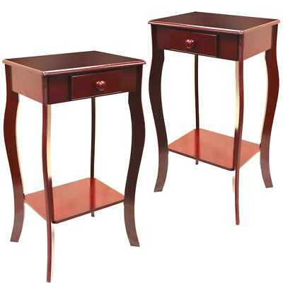 PACK OF TWO - Wooden Bedside Tables with Storage Drawer - Cherry CH6022x2