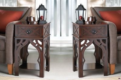 2 Moroccan Style Carved Side, End, Accent Tables Night Stands w/ Drawer & Shelf