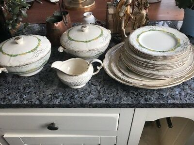 Art Deco Crown Devon Dinner Service Lidded Tureens, Plates etc Glenwood 1930