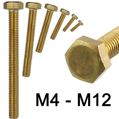 BRASS HEX HEAD SCREWS M4 M5 M6 M8 M10 M12 Fully Threaded DIN 933 Hexagon Bolts