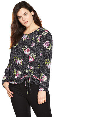 V by Very Curve Ruched Detail Blouse in Print Plus Size 20