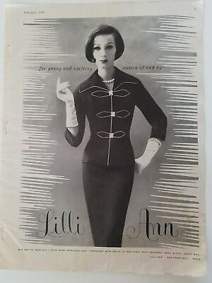 1961 LILLI ANN women's midday to martinis women's suit fashion ad AS IS