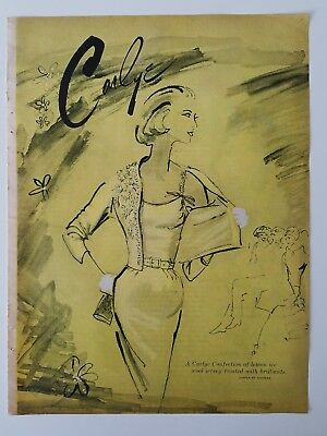 1956 Carlye women's dress lemon ice wool jersey vintage fashion ad