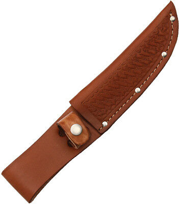 "Sheath SH1134 Straight Knife Brown Basketweave Leather Fits Up To 5"" Blade"