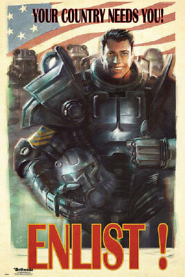 FALLOUT 4 POSTER - ENLIST YOUR COUNTRY NEEDS YOU (Size 24x36)