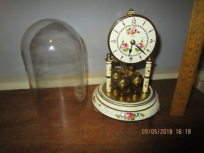Vintage Kern Anniversary clock. 8 in. tall Dome clock .Cream with pink Roses