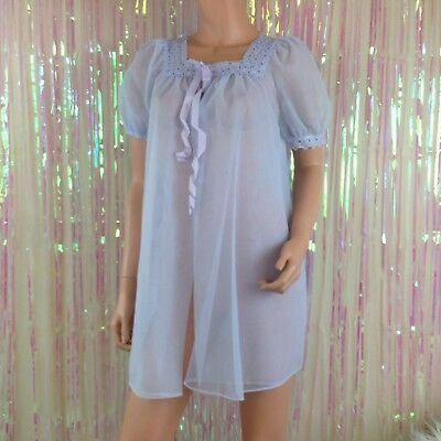 VTG Pastel purple lilac short babydoll sheer Robe Peignoir womens Sz S NG75