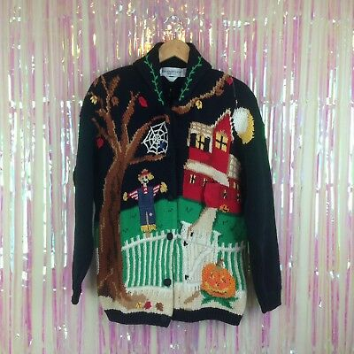 Vtg 90s The Eagle's Eye Halloween cardigan sweater fall scarecrow haunted house