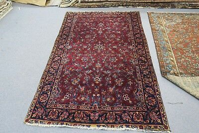 Antique Fine Sarouk Kashan Hand Knotted Wool Persian Rug 4'2 x 6'5
