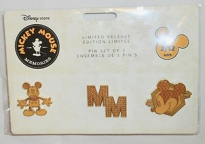 New Disney Parks Mickey Mouse Memories 3 Disney Pin Limited Release Set 2018