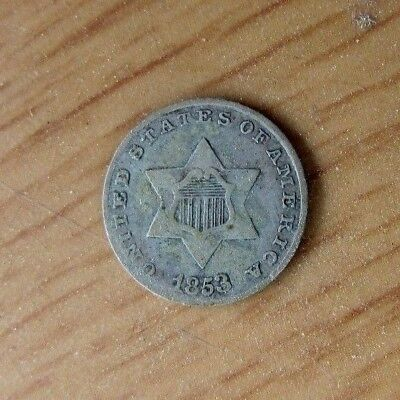 1853 US Three Cent Silver Piece Coin Nice Detail