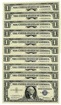 Fr. 1619 $1 1957 A Dollar Silver Certificate Star Notes 10 Pieces Very Choice CU