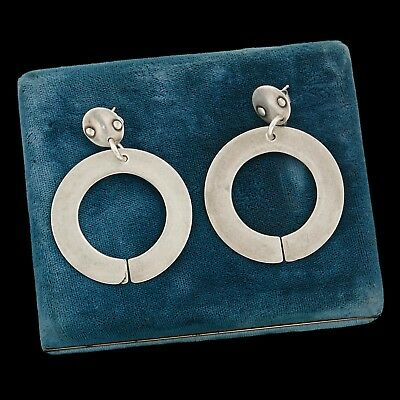 "Antique Vintage Deco Mid Century Sterling Silver Modernist Circle 2.1"" Earrings"